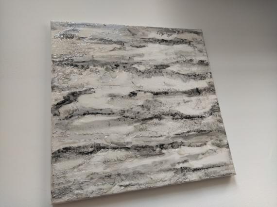 TABLEAU PEINTURE Blanc Arbre Bouleau Relief Abstrait Acrylique  - Ecorce