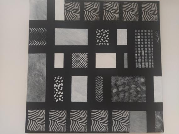 TABLEAU PEINTURE Noir Blanc Graphique Carré Abstrait Acrylique  - B&w