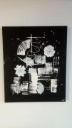 tableau abstrait noir blanc negatif fleur : Négatif