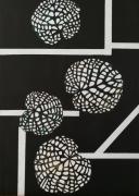 """tableau autres feuille de lotus noir et blanc zen decoration : Série """"Zen"""" N°3"""
