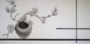 """tableau fleurs fleur noir et blanc ature morte zen : Série """"Zen""""N°1"""