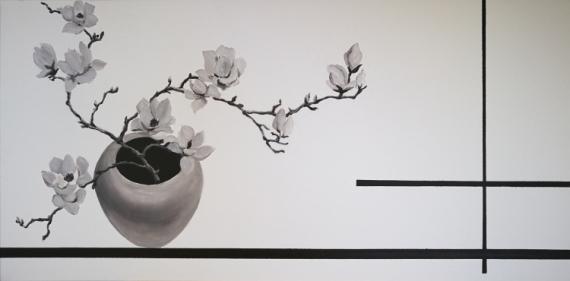 """TABLEAU PEINTURE fleur noir et blanc ature morte zen Fleurs Acrylique  - Série """"Zen""""N°1"""