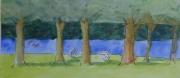 tableau paysages paysage parc arbres herbe : LE GRAND PRE