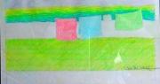 tableau paysages paysage pelouse serviettes soleil : SERVIETTES  AU SOLEIL