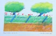 tableau paysages paysage parc arbres pivoines : JARDIN DE PIVOINES