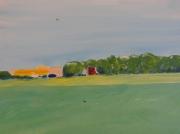 tableau paysages paysage mont arbres orange : MA MAISON DU COTEAU