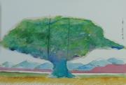 tableau paysage mont arbres vert : GRAND ARBRE VERT