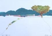 tableau paysages paysage collage arbres montagnes : PAYSAGE BLEU
