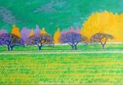 tableau paysages paysage montagne arbres verger : VERGER DU JAUR