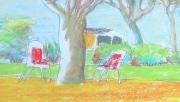 tableau paysages paysage parc arbres nuage blanc : ON MANGE DEHORS !