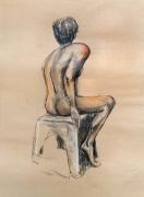 dessin nus modele vivant nu homme ocres : homme assis de dos