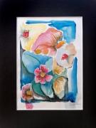 tableau fleurs fleur couleurs orange bleu : fleurs 2