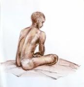 dessin modele vivant nu masculin ocres : la pause