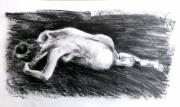 dessin nus modele vivant nu feminin dos : femme de dos couchée