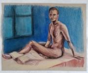dessin nus modele vivant homme nu pastels : Etude de nu masculin