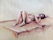 dessin nus modele vivant sanguine craie femme : femme couchée