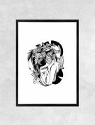art numerique fleurs poisson fleur coeur amour : Affiche LOVE - Illustration
