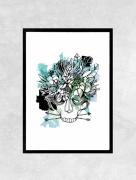 art numerique fleurs tete de mort fleur graphique nature : Affiche INDIGENE - Illustration