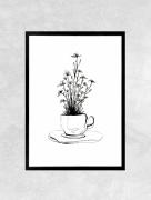 art numerique fleurs tasse ,a cafe cafe fleurs dejeuner : Affiche CAFE - Illustration