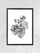 art numerique fleurs tropical feuilles banane coeur : Affiche BANANIER - Illustration