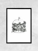art numerique fleurs burger nourriture vegetal fleur : Affiche BURGER - Illustration
