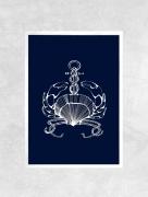 art numerique marine mer crabe bateau coquillage : Affiche CRABE - Illustration