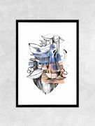 art numerique marine mer bateau baleine voilier : Affiche MARIN - Illustration