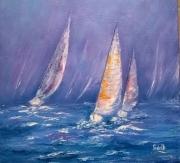 tableau marine voiliers dans la hou : voiliers dans la houle