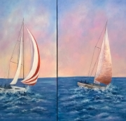 tableau marine voiliers diptyque : Voiliers diptyque