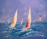 tableau marine voiliers : Voiliers et  phare