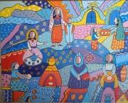 tableau personnages maroc marche berbere vendeurs : les pains