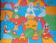 tableau personnages maroc marche berbere vendeurs : le vendeur de thé