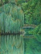 dessin paysages saule pleureur reflet pont nature : Weeping willow