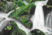 dessin paysages riviere cascade eau rocher : Cascades