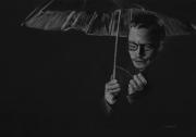dessin personnages parapluie homme pluie portrait : L'homme au parapluie