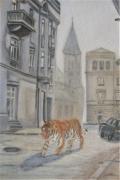 dessin villes tigre ville batiment animal : Tiger in the city