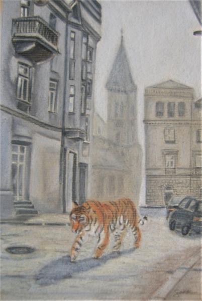 DESSIN Tigre Ville Bâtiment Animal Villes Pastel  - Tiger in the city