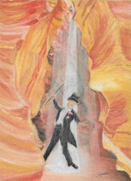 DESSIN Canyon Magicien Lumière Spectacle Personnages Pastel  - Abracadabra !