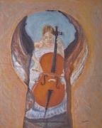 dessin personnages violoncelle serrure musicienne musique : Par le trou de la serrure
