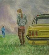 dessin personnages depart rupture voiture tristesse : Départ