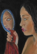 dessin personnages aveugle miroir femme : What I cannot see