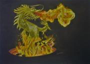 dessin autres dragon feu fantastique animal legendaire : Bursting out