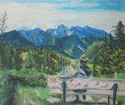 dessin paysages montagne couple absence foret : Longing