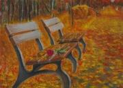 dessin paysages banc rose automne parc : Après-midi d'automne