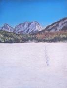 dessin paysages empreinte neige montagne hiver : Footprints in the snow
