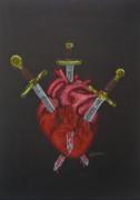 tableau autres coeur epee coeur brise sang : Three of swords