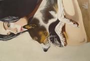 tableau personnages jeune femme chien reve : Rêve