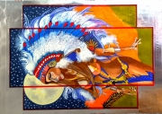 tableau nus nue indienne plumes : Louna