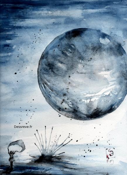 TABLEAU PEINTURE lune poétique onirique coton Aquarelle  - Sans titre