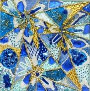 tableau autres bleu blanc or cosmique etoiles filantes : Naissance dans la lumière